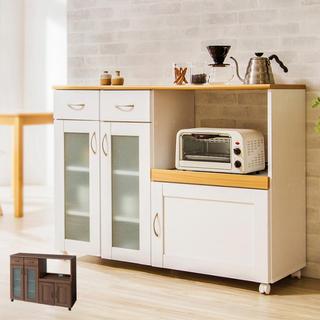 キッチンカウンター ワゴン 収納 キャスター コンセント 食器棚 レンジ台 木製(キッチン収納)