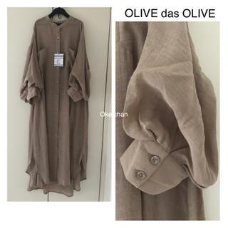OLIVEdesOLIVE - 今季SS新作☆ボリューム袖バンドカラーシャツワンピース ベージュ