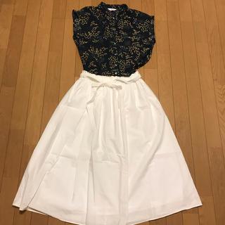 ハナエモリ(HANAE MORI)のprimativo hanae mori dewx  リボン付きギャザースカート(ひざ丈スカート)
