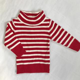 新品【80】セーター 赤 白 ボーダー(ニット/セーター)