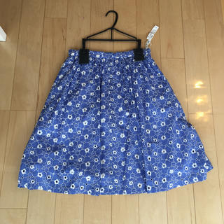 エフデ(ef-de)のef-de エフデ スカート 日本製 レース ブルー 花柄(ひざ丈スカート)
