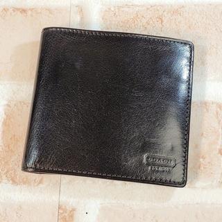 コーチ(COACH)のコーチ COACH ☆ レザー 折財布 ブラック(折り財布)