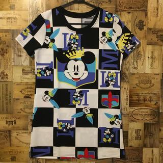 ミッキーマウス(ミッキーマウス)の美品 ミッキー ディズニー ワンピース Tシャツ 総柄 ミニー L レディース(Tシャツ(半袖/袖なし))