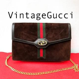 Gucci - 美品 Gucci グッチ シェリーライン ビンテージショルダーバッグ スエード