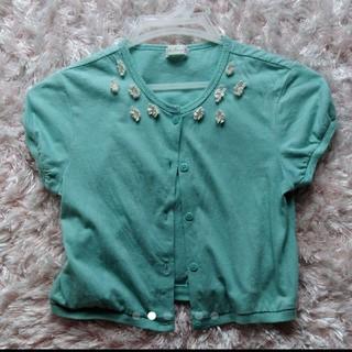 ニットプランナー(KP)のミントグリーン色の可愛いトップスカーディガン(Tシャツ/カットソー)