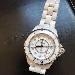 シャネル(CHANEL)のCHANEL J12 12Pダイヤ H1628 ホワイトセラミック(腕時計)