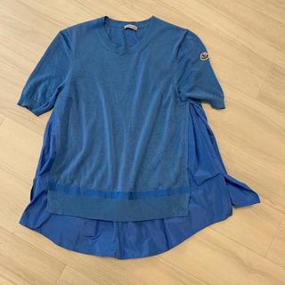 モンクレール(MONCLER)のモンクレール 本物 ブルー ヴァージンウール異素材ドッキングサマーニット(その他)
