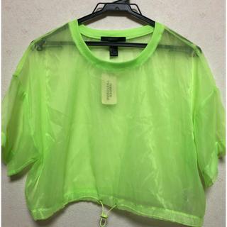 フォーエバートゥエンティーワン(FOREVER 21)のシアートップス 黄緑 Lサイズ(Tシャツ(半袖/袖なし))