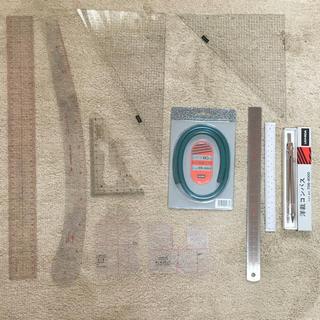 【新品☆美品】文化服装学院 11点セット 方眼縮尺定規 洋裁 パターン型紙 道具(型紙/パターン)