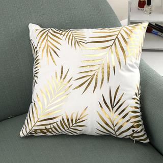 フランフラン(Francfranc)のセール!クッションカバー 枕カバー 45cm×45cm おしゃれ 白 ゴールド(クッションカバー)