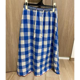 STUDIO CLIP - 青 ブルー ホワイト 白 ギンガムチェック ロング スカート