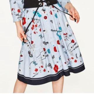 ザラ(ZARA)のザラ 花柄 フラワー スカート ユニクロ(ひざ丈スカート)