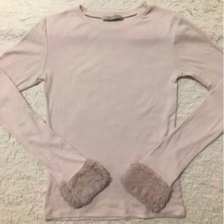 ザラ(ZARA)のZARA トップス Tシャツ 長袖 ファー(Tシャツ(長袖/七分))