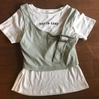 シマムラ(しまむら)の2点セット リブビスチェ&ロゴT 140cm(Tシャツ/カットソー)