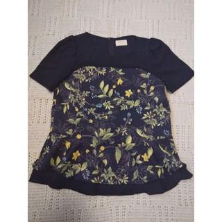 エフデ(ef-de)のボタニカル ネイビー ブラウス 花柄 ペプラム(シャツ/ブラウス(半袖/袖なし))