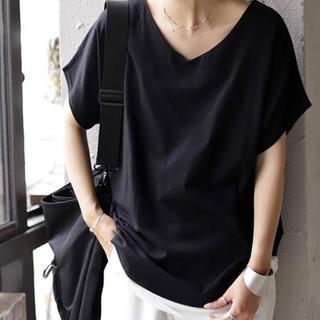 アンティカ(antiqua)のantiqua ドルマンVネックTシャツ綿100%(カットソー(半袖/袖なし))