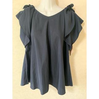 クチュールブローチ(Couture Brooch)のn535  新品 Couture brooch  ネイビー ブラウス M(シャツ/ブラウス(半袖/袖なし))