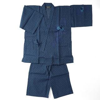 甚平 メンズ しじら織 刺繍 纏 まとい 濃紺色 Lサイズ(その他)