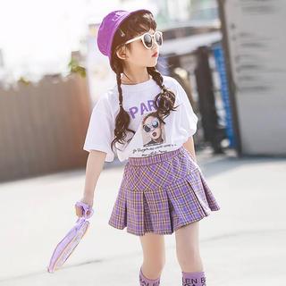 Tシャツ×チェックプリーツスカート セット