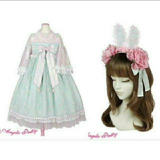 Angelic Pretty - Angelic pretty 兎慶ぶ花宴ワンピース カチューシャ ミント×ピンク