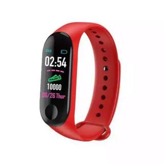 Bluetooth  多機能 スポーツ心拍圧力計 レッド(腕時計(デジタル))
