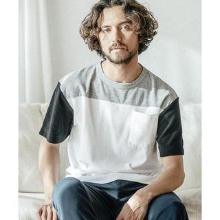 ナノユニバース(nano・universe)のパイルボーダーTシャツ 新品 アンゲネーム  グレーM(Tシャツ/カットソー(半袖/袖なし))