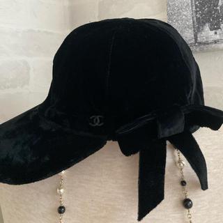 シャネル(CHANEL)のご専用❤️ベルベット リボン キャップ帽 (キャップ)