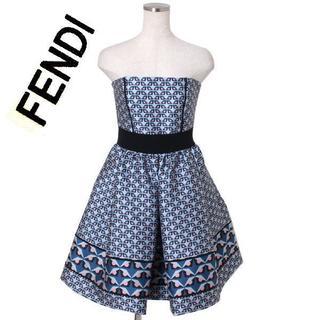フェンディ(FENDI)のFENDI ベアミニドレス size38 ブルー×ピンク フェンディ ワンピース(ミニワンピース)