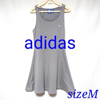 アディダス(adidas)のアディダス  ミニワンピース ライトグレー  Mサイズ(ミニワンピース)