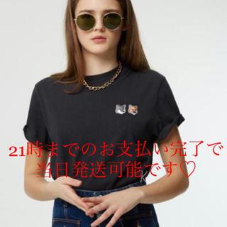 メゾンキツネ(MAISON KITSUNE')の3%オフクーポンお使い下さい☆ メゾン キツネ ロゴ TシャツXSサイズ(Tシャツ(半袖/袖なし))