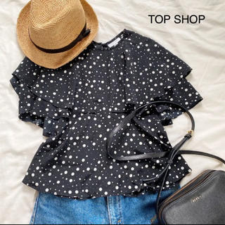TOPSHOP - 《TOP  SHOP》ドットブラウス カットソー ペプラム トップショップ