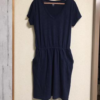 ユニクロ(UNIQLO)のUNIQLO Tシャツ ワンピース ネイビー(ルームウェア)