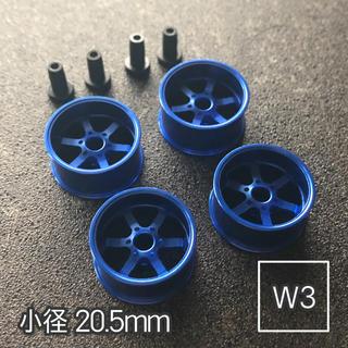 ミニ四駆 アルミホイール 4個セット(小径6スポーク)ダークブルー(模型/プラモデル)