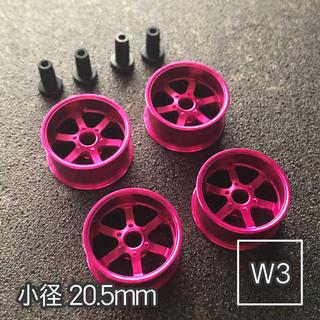 ミニ四駆 アルミホイール 4個セット(小径6スポーク)ピンク(模型/プラモデル)