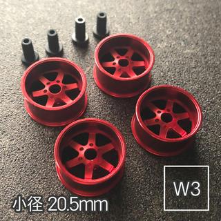 ミニ四駆 アルミホイール 4個セット(小径6スポーク)レッド(模型/プラモデル)