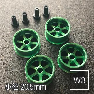 ミニ四駆 アルミホイール 4個セット(小径6スポーク)グリーン(模型/プラモデル)