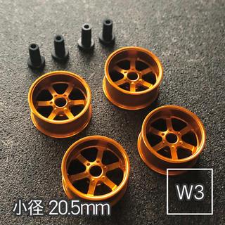 ミニ四駆 アルミホイール 4個セット(小径6スポーク)オレンジ(模型/プラモデル)