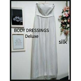BODY DRESSING Deluxe - 美品!ベアトップ ロングワンピース 上品  シルク M ペールグレー