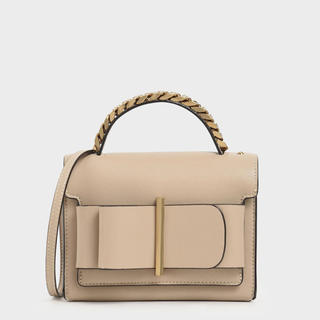 Charles and Keith - ボウディテールバッグ / Bow Detail Bag (Beige)