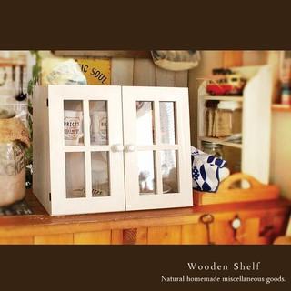カフェ風♪ショーケース シェルフ 木製 棚 扉付き ホワイト(家具)
