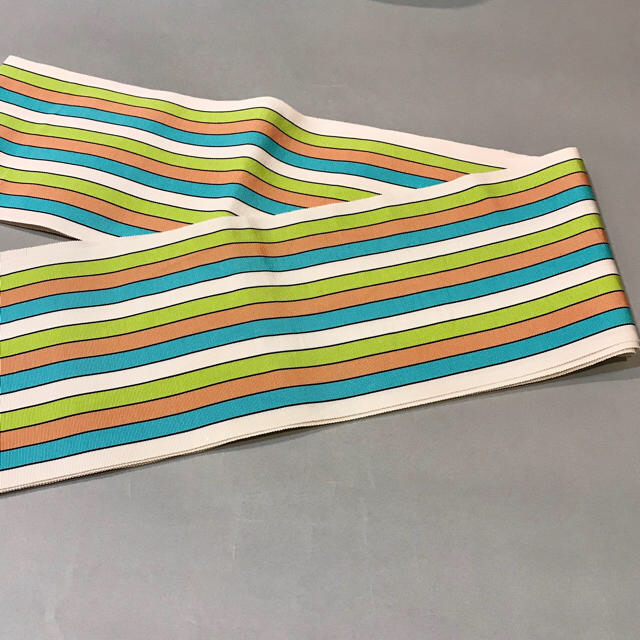 【1回使用】博多帯 博多織 四寸単帯 正絹 半巾帯 半幅帯 白地 縞 正絹 レディースの水着/浴衣(帯)の商品写真