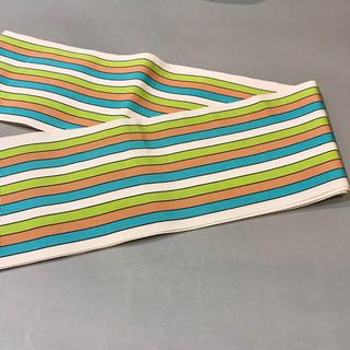 【1回使用】博多帯 博多織 四寸単帯 正絹 半巾帯 半幅帯 白地 縞 正絹