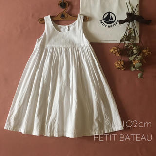 PETIT BATEAU - PETIT BATEAU|プチバトー ⑅清楚なホワイトワンピース*̩̩̥୨୧˖