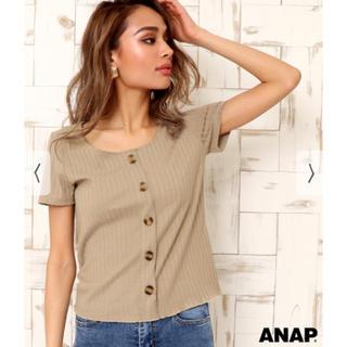 アナップ(ANAP)の定価¥2,700 ANAP♡べっ甲ボタンリブトップス(Tシャツ(半袖/袖なし))