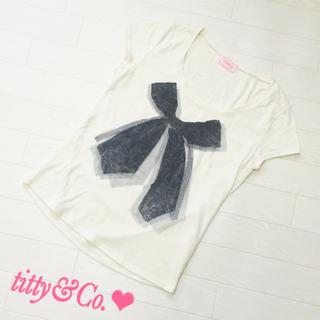 ティティアンドコー(titty&co)のtitty&Co♡リボン柄Tシャツ(Tシャツ/カットソー(半袖/袖なし))