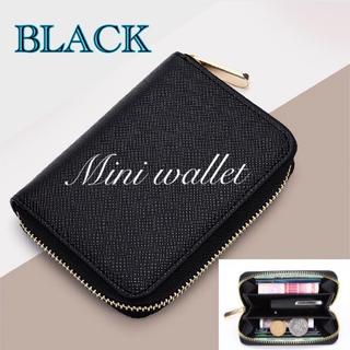 ミニウォレット コインケース シンプルでコンパクト 収納力抜群 ブラック 新品(折り財布)