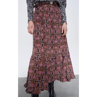 ザラ(ZARA)のZARA 後ろゴムいり フリル ベルト付き スカート M  新品(ロングスカート)