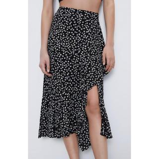 ザラ(ZARA)のZARA 花柄スリット入り フリル付き 黒 スカート M 新品未使用(ロングスカート)