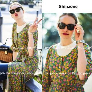 Shinzone - 新品同様⭐️37400円/シンゾーン/フラワープリントドレス/グリーン/フリー