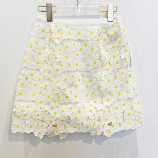 ハニーミーハニー(Honey mi Honey)のコットン フラワースカート(ミニスカート)